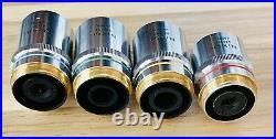 Lot Of 4 Nikon BD Plan Microscope Objectives 5x, 10x, 20x, 40x (M26 Thread)