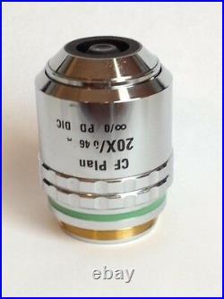 Nikon 20X Microscope Objective CF Plan BD DIC WD3.1 NA. 46