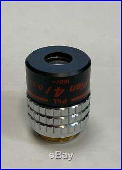Nikon CFI Plan 4X/0.13 PhL Phase Microscope Objective 160mm Optiphot Labophot ++
