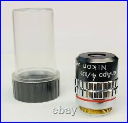 Nikon CFN Plan APO Apochromat 4X/0.20 Microscope Objective 160mm