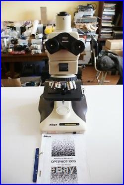 Nikon Optiphot 100 Microscope and objective CF Plan 2.5x, 5x, 10x, 20x, 50x