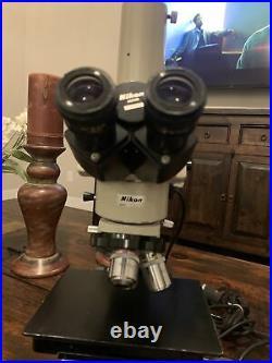 Nikon Optiphot Microscope trinocular head 5x 10x 40x BD PLAN, 6x10 stage