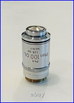 Nikon Plan 100X/1.25 DL Ph4 Phase Microscope Objective 160mm Optiphot Labophot