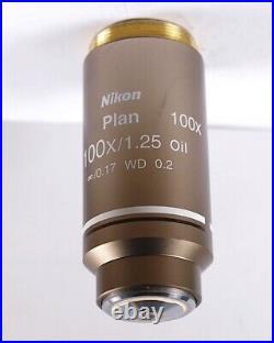 Nikon Plan 100x /1.25 Oil WD 0.2 CFI M25 Eclipse Microscope Objective