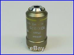Nikon Plan 10X/0.25 /- WD 10.5 Microscope Objective Excellent Optics
