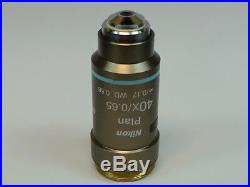 Nikon Plan 40X/0.65 /0.17 WD 0.56 Microscope Objective great condition