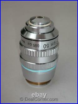 Nikon Plan 50X Oil Microscope Objective Lens 160mm with Iris Optiphot Labophot