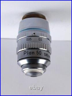 Nikon Plan 50x /. 85 Oil Microscope Objective 160 TL with Iris