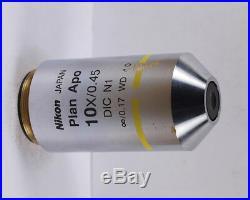 Nikon Plan APO 10x /. 45 DIC N1 CFI Eclipse Microscope Objective