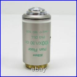 Nikon Plan Fluor 100x/1.30 Oil Ph3 DLL Phase Contrast Microscope Objective