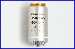 Nikon Plan Fluor 40x / 0.75 DIC M WD /0.17 0.72 Microscope Objective #2858