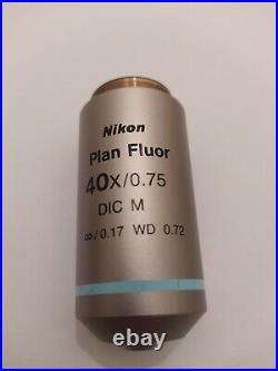 Nikon Plan Fluor 40x/0,75 DIC M Wd 0,72 Microscope Objective