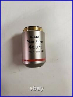 Nikon Plan Fluor 4X/0.13 /- WD 17.1 Microscope Objective