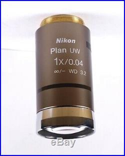 Nikon Plan UW 1x /. 04 Low Power Eclipse CFI Microscope Objective