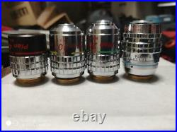 Nikon microscope 4 objective lenses Plan 4 10 20 40 used japan