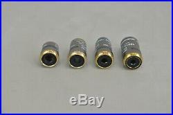 Set of New Nikon Plan 4x 10x 40x 100x Microscope Objectives (21990-1 E12)
